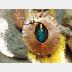 Fold form tribal pendant with azurite with malachite gemstone
