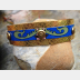 Recycled tin and nugold cuff bracelet blue and green Swedish cookie tin