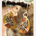 Mixed metal dragonfly half moon dangle earrings