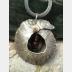 Fold form jasper gemstone and German silver cocoon pendant