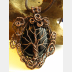 Copper black onyx tree of life with a swirling spirals wire woven pendant one of