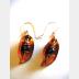 Copper foldform dangle earrings fresh water blue pearl