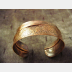Copper forged fold form wide bracelet