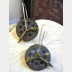 Steampunk clock face geared recycled tin and sterling latch hoop earrings