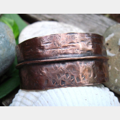 Primitive forged and folded copper cuff