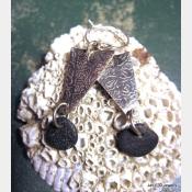 Om  natural stone German silver beach rock dangle earrings