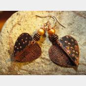 Tribal fold form heart dangle earrings