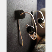 Black onyx and sterling drop earring