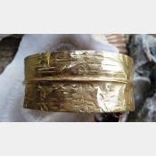 Bronze fold form tribal cuff