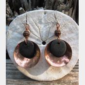 Copper and beach stone dangles