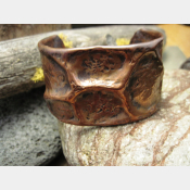 Wide Tribal  Air Chased Copper Cuff Bracelet Forged