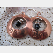 Copper moon earrings with beads