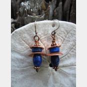 gemstone tribal dangle earrings with copper