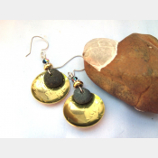 Natural Rock and Brass Earrings