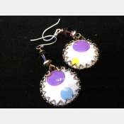 Recycled tin earrings- Polka dots