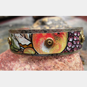 mixed metal recycled tin and silver repurposed cuff