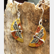 Mixed metal dragonfly half moon dangle earrings