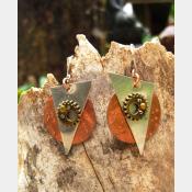 Mixed metal gear steampunk large dangle earrings