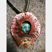 Copper mixed metal large fold form cocoon pendant with turquoise