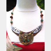 Steampunk repurposed upcycled large breastplate statement necklace