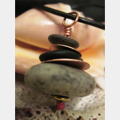 Natural stacked rock pendant