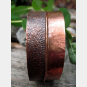 Wide copper fold form cuff bracelet