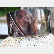 Textured fold form copper organic tribal cuff bracelet