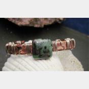 Ruby Zoisite gemstone mixed metal cuff bracelet