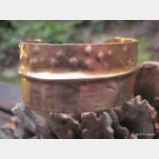 Textured fold form bronze tribal cuff bracelet