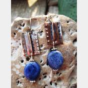 Tribal fold form copper and sodalite healing earrings
