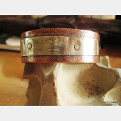 Mixed metal German silver and copper healing textured zen  design cuff