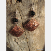 Textured copper and black onyx primitive dangle earrings