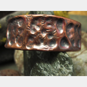 Tribal fold form copper cuff bracelet