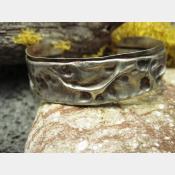 German Silver Primitive Boho Tribal Fold Form Cuff