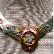 Steampunk mixed metal breast plate statement neck piece