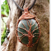 Aventurine and copper tree of life wire wrap pendant