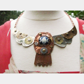 Tribal Winged Mixed Metals Statement Necklace