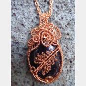 Blue Goldstone Wire woven copper tree pendant