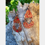Red and goldtone recycled vintage tin dangle earrings