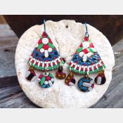 Multicolor gypsy boho recycled tin dangle earring