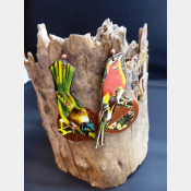Large and light statement tin dangle earrings of birds