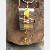 Tibetan inspired zen prayer package German silver pendant with word Joy