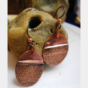 Tribal copper forged foldform boho gypsy hippie dangle oval earrings Cancel
