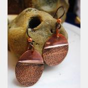 Tribal copper forged foldform boho gypsy hippie dangle oval earrings Cancel