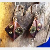 Recycled copper foldform steampunk large dangle diamond shape earring