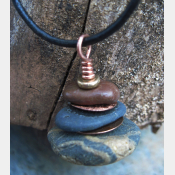 OM Stacked rock cairn  Oregon Beach Rock Pendant