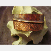 Tribal organic primitive fold form copper cuff