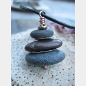 Stacked natural beach stone cairn pendant with spacers
