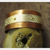 Mixed metal tribal copper and German silver textured cuff  Small