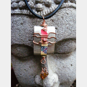 Tibetan inspired prayer pendant in German silver with recycled tin